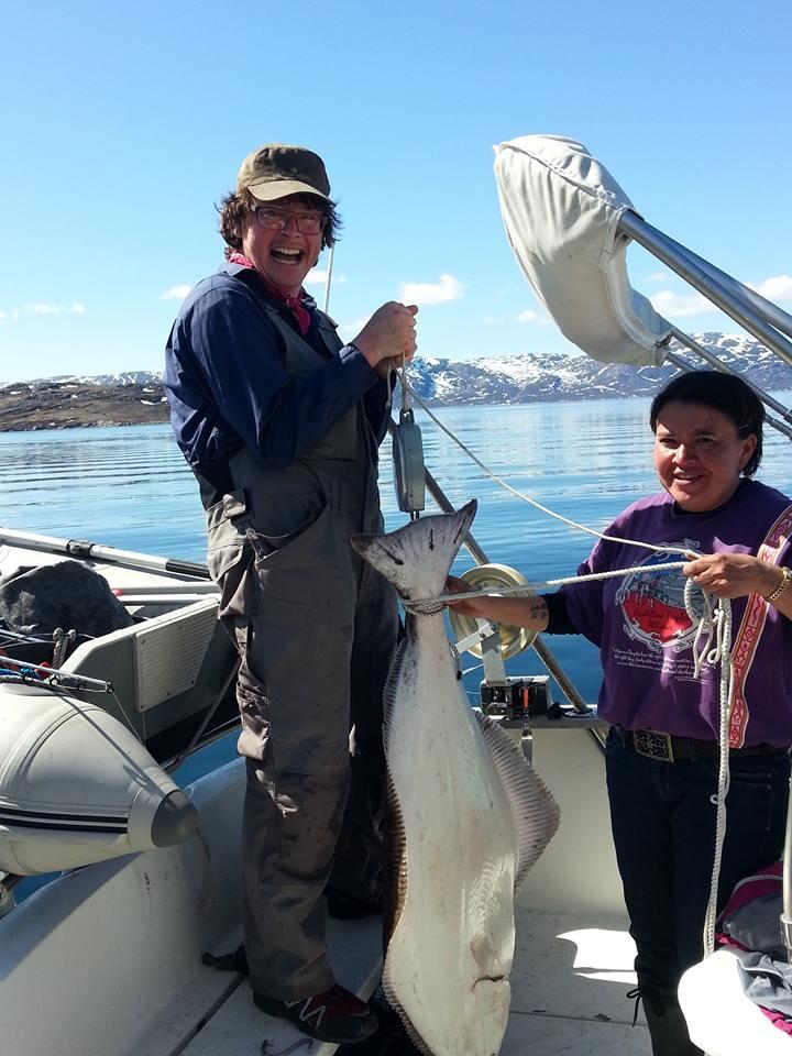 Anna fangede denne 35 kg - 135 cm helleflynder på havstang.