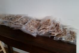 Slutproduktet af ca. 25 kg filet - 5-6 kg rent tørfisk